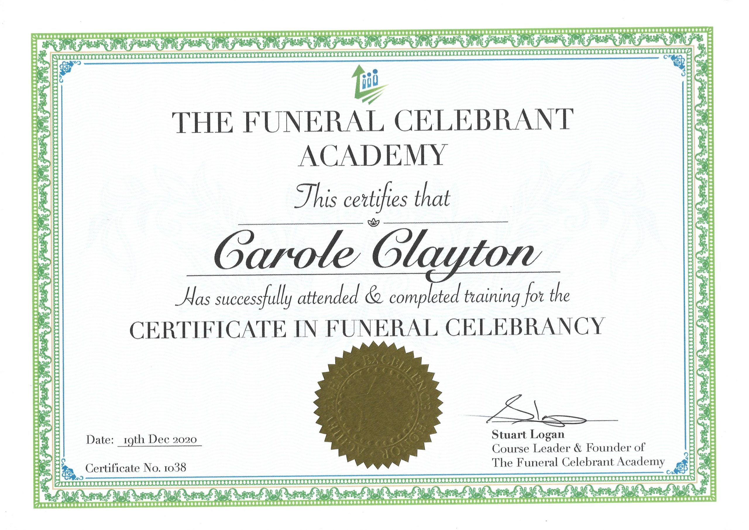 Certificate - Funeral Celebrant in Worcester, South Shropshire & North Herefordshire